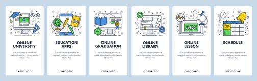Telas onboarding do site Educação, lição e graduação em linha Molde da bandeira do vetor do menu para o Web site e o móbil foto de stock