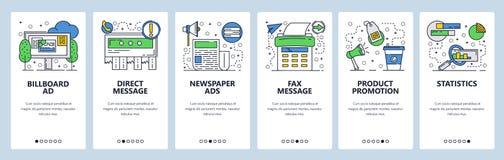 Telas onboarding do site Mercado e anúncio Molde da bandeira do vetor do menu para o Web site e o app móvel imagem de stock