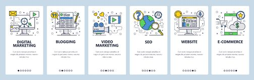 Telas onboarding do site SEO, mercado digital, compra em linha, vídeo Molde da bandeira do vetor do menu para o Web site e ilustração stock