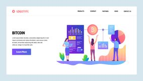 Telas onboarding do site Tecnologia de Blockchain e moeda cripto do bitcoin Molde da bandeira do vetor do menu para o Web site ilustração do vetor