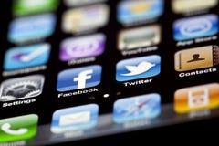 IPhone 4 - Macro de Apps Imagens de Stock