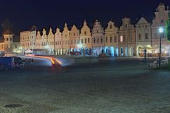TELC,捷克:2017年8月25日- 16世纪新生和巴洛克式的房子在Telc,捷克大广场  免版税图库摄影