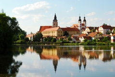 Telc Castle,Lake and Bridge Stock Images