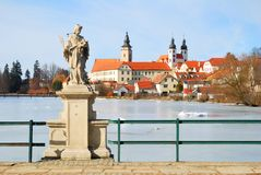Telc chateau and church Royalty Free Stock Photography