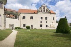 Telc chateau, June 25, 2016, Castle gardens, Renaissance castle stock photos
