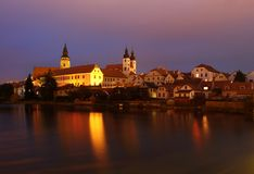 Telc city in evening Royalty Free Stock Photos