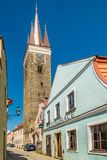 View at the Church of Holy Ghost in Telc - Moravia, Czech repblic Stock Image