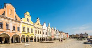 View at the Painted houses at Main place in Telc - Moravia,Czech republic Stock Photos