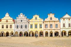 View at the Painted houses at Main place in Telc - Moravia,Czech republic Royalty Free Stock Photography