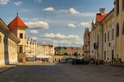 TELC, THE CZECH REPUBLIC-AUGUST 25, 2017: The main square of Tel. C, UNESCO heritage site Royalty Free Stock Photos
