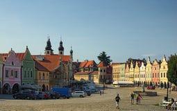TELC, THE CZECH REPUBLIC-AUGUST 25, 2017: The main square of Tel. C, UNESCO heritage site Stock Photo