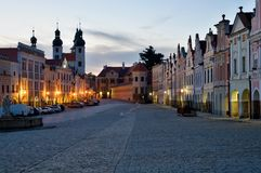 Telc, Czech republic. Historic buildings and church on the square in town Telc, Czech republic Stock Images