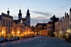 Telc, Czech republic. Historic buildings and church on the square in town Telc, Czech republic Royalty Free Stock Photos