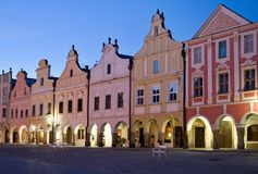 Telc, Czech republic. Historic buildings on the square in town Telc, Czech republic Stock Images
