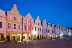 Telc, Czech republic. Historic buildings on the square in town Telc, Czech republic Royalty Free Stock Photos