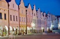 Telc, Czech republic. Historic buildings on the square in town Telc, Czech republic Stock Photo