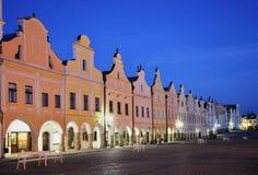 Telc, Czech republic. Historic buildings on the square in town Telc, Czech republic Stock Photos