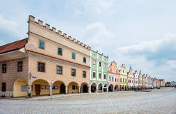 Telc, Czech Republic. A row of the houses on main square. Telc, Czech Republic, Unesco city. A row of the houses on main square Royalty Free Stock Photo