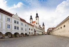 Telc, Czech Republic - Unesco city. A row of the houses on main square Stock Photos