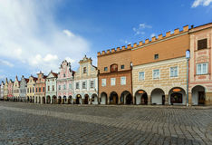 Telc, Czech Republic - Unesco city. A row of the houses on main square Royalty Free Stock Photos