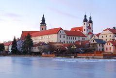 Telc historic chateau and church towers Stock Photos