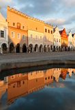 Telc or Teltsch town square mirroring in public fountain Royalty Free Stock Image
