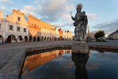 Telc or Teltsch town square mirroring in public fountain Stock Photo