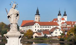 Telc or Teltsch town with statue of st. John of Nepomuk Royalty Free Stock Photos