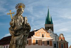 Telc or Teltsch town - statue of st. Margaret Royalty Free Stock Photography