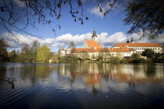 Telc Town. Castle Reflecting in Lake. Autumn Landscape. Bohemia, Czech Republic, Europe royalty free stock image