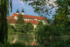 Spectacular castle under cloudy sky in Telc,a town in Moravia, a UNESCO world heritage site in Czech Republic, Europe Royalty Free Stock Photography