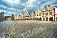 Telc, a Town in Southern Moravia. Houses in Namesti Zachariase z Hradce stock image