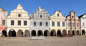 Telc town square with renaissance buildings. View from Telc town square with renaissance and baroque colorful houses, UNESCO town in Czech Republic Stock Photo