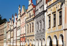 Telc town square with renaissance houses Royalty Free Stock Photos