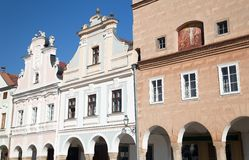 Telc town square with renaissance houses Royalty Free Stock Photography