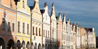 Telc town square with renaissance houses Stock Image