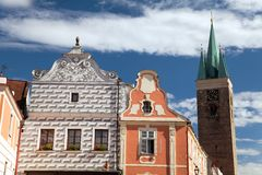 Telc town square with renaissance houses. View from Telc town square with renaissance and baroque colorful houses, UNESCO town in Czech Republic Royalty Free Stock Photography