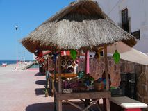 海滩和海洋全景在墨西哥Telchuc 免版税库存图片