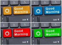 Telclado numérico con el mensaje de la buena mañana Fotos de archivo libres de regalías