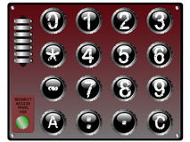 Telclado numérico de la seguridad con el panel táctil ilustración del vector