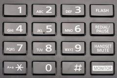 Telclado numérico del teléfono con los botones rectangulares cerca para arriba fotografía de archivo libre de regalías