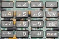 Telclado numérico del teléfono con los botones rectangulares cerca para arriba fotografía de archivo