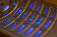Telclado numérico iluminado del teléfono celular Fotos de archivo