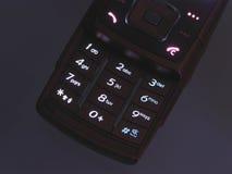 Telclado numérico iluminado del teléfono celular Fotografía de archivo libre de regalías