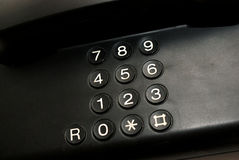 Telclado numérico negro en el teléfono Imagen de archivo libre de regalías