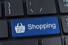Telclado numérico del botón de las compras con el icono de la cesta. Foto de archivo