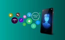 Tele concetto online della medicina Visita medica e trattamento via l'applicazione dello smartphone Illustrazione di vettore illustrazione vettoriale