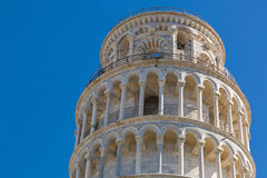 Tele zoom of Leaning Tower, closeup top part of world famous Pis. PISA, ITALY - SEPTEMBER 2016 : Tele zoom of Leaning Tower, closeup top part of world famous Stock Images
