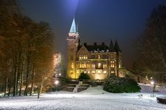 Teleborg Castle at snowy night in Vaxjo. Sweden Royalty Free Stock Photos