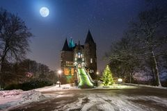 Teleborg Castle at snowy night in Vaxjo. Sweden Royalty Free Stock Photography